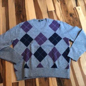 J crew men's argyle sweater sz L